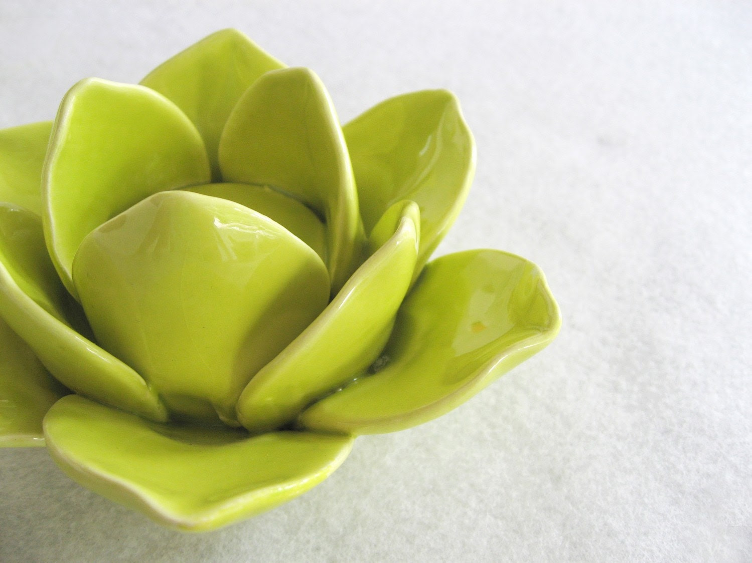 In Bloom. Gorgeous Ceramic Lime Green Lotus Tealight Holder. Candle Holder