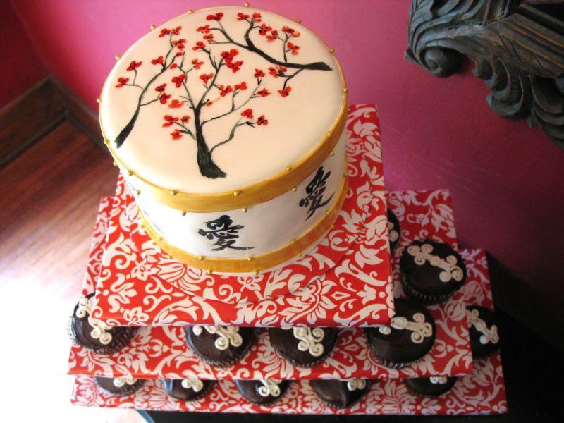 Asian themed Cake and Cupcakes
