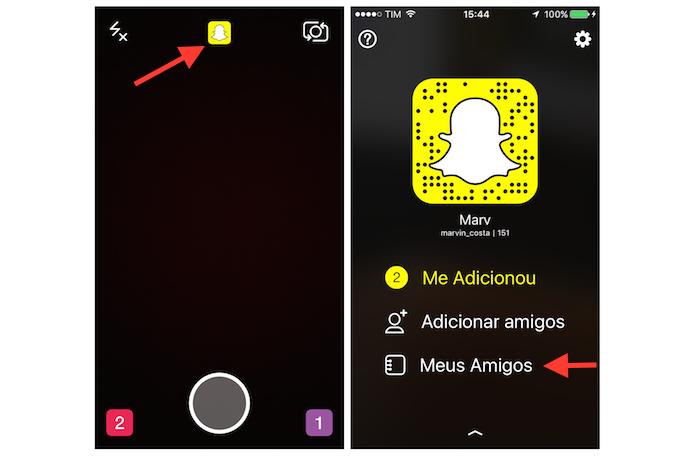 Acessando a lista de amigos do Snapchat (Foto: Reprodução/Marvin Costa)