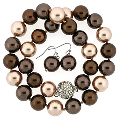 Chocolate Multi-Color Pearl Strand with Earrings
