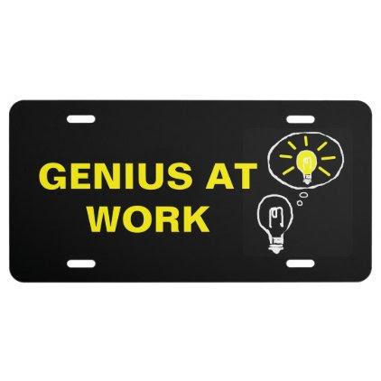 Genius at work license plate