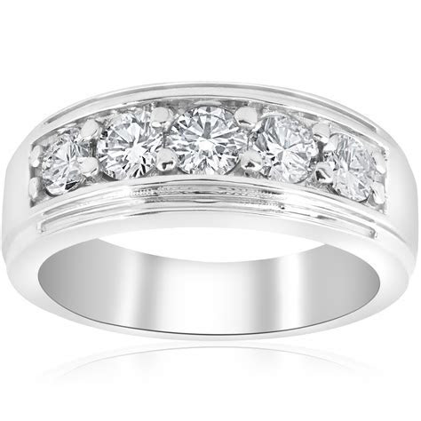 Channel Set Men's Wedding Ring Band SI/G 1 Ct Diamond 14K