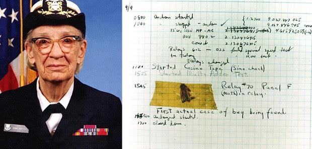 Além do compilador e do COBOL, Grace Hopper foi a primeira a cunhar o termo 'bug' para se referir a um erro no sistema. À direita, uma mariposa colada a um relatório sobre o computador de cálculos Mark II (Foto: Wikimedia Commons, U.S. Naval Historical Center Online Library Photograph)