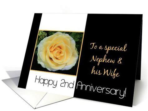 2nd Wedding Anniversary card for Nephew & Wife   Yellow