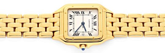 Originalfoto CARTIER PANTHERE GELB-GOLD HERRENUHR