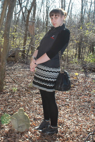 Black and white Missoni for Target chevron dress, wool tights, studded boots, quilted University of Cincinnati vest