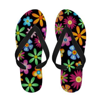 Spring Flowers Colorful Naif Design Flip_Flops Sandals