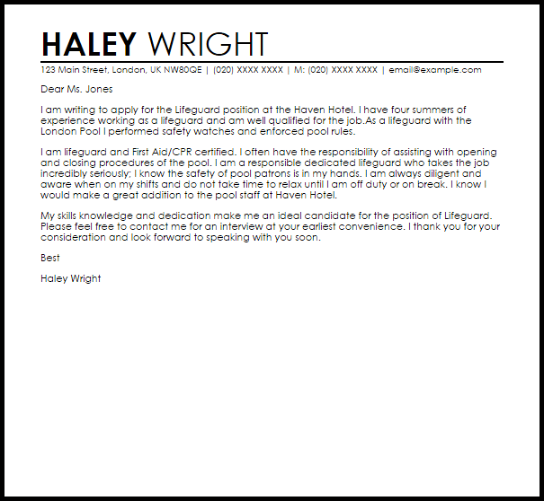 Lifeguard Cover Letter Sample Cover Letter Templates