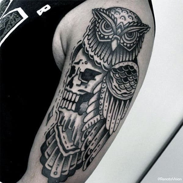 70 Traditional Owl Tattoo Designs For Men Wise Ink Ideas