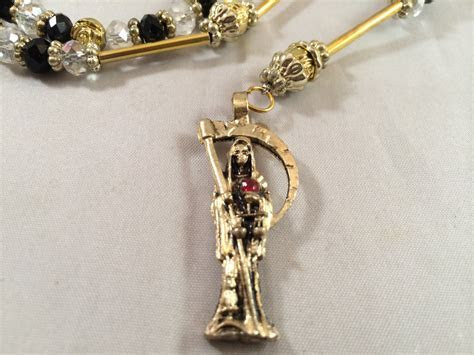 Santa Muerte Rosary Necklace Gold Black Clear Beads