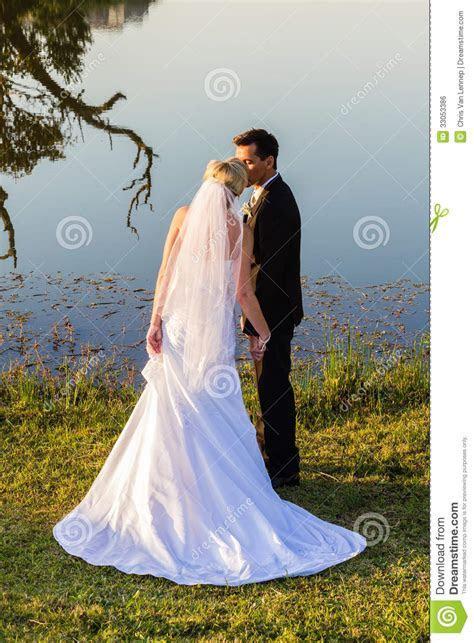 Wedding Bride Groom Romantic Kiss Stock Photo   Image of