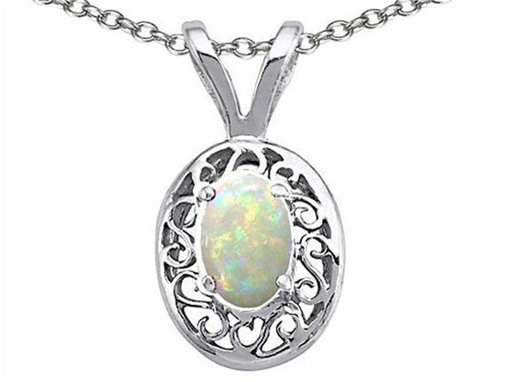 Tommaso Design Oval 5x3mm Genuine Opal Pendant White Gold