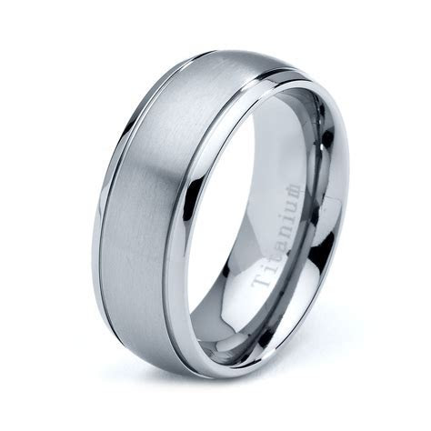 Titanium Wedding Band, Men Titanium Rings, Mens Wedding
