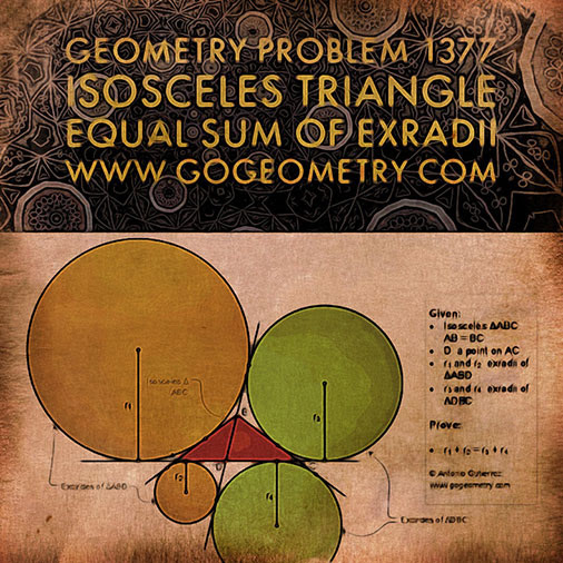 Sacred Geometry Art of Problem 1377: Isosceles Triangle, Interior Cevian, Equal Sum of Exradii, Excircle, iPad Apps