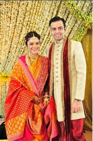 Maharashtrian Bride and groom   saree   Marathi bride
