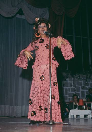 Marujita Díaz durante un concierto en Madrid en 1976.