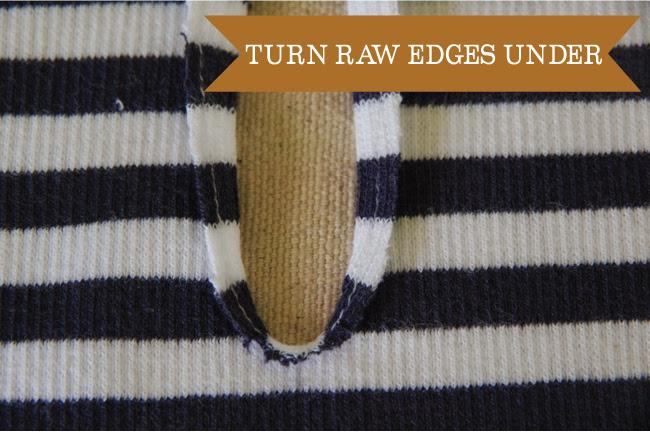Embellish - turn raw edges under