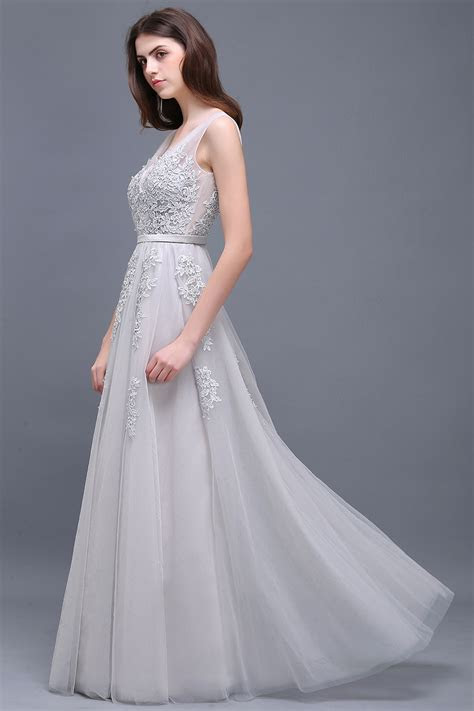 silver long evening prom formal cocktail dress bridesmaid