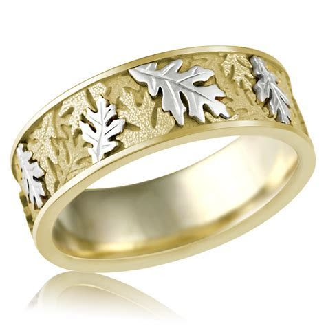 Two Tone Oak Leaf Wedding Band