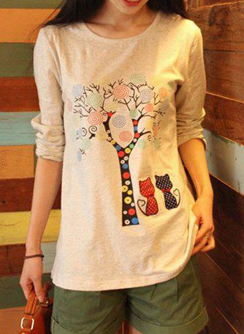 Sweet Style Jewel Neck Tree Print Cotton Long Sleeve Women's T-Shirt