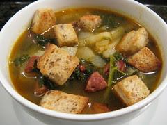 Potato soup with kale & chorizo