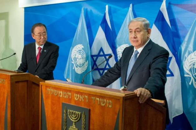 Secretary-General Ban Ki-moon (left) jointly addresses journalists with Benjamin Netanyahu, Prime Minister of Israel, in Jerusalem, on Oct. 13, 2014. Credit: UN Photo/Eskinder Debebe