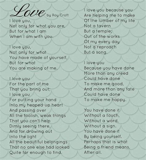 Love by Roy Croft My wedding poem to John   you never know