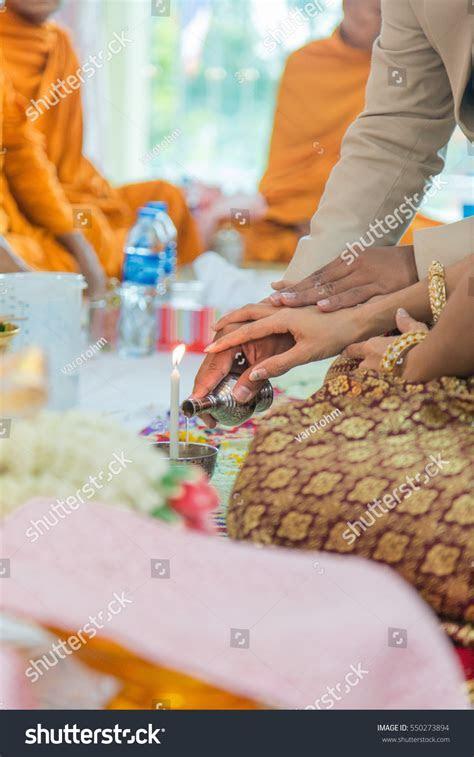 Libation Thai Engagement Pour Water Thai Stock Photo