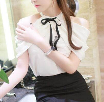 White Bow Collar Off the Shoulder Blouse pictures