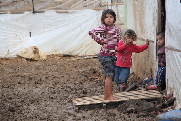 Syrian refugee children learn to survive at a camp in north Lebanon. Credit: Zak Brophy/IPS.