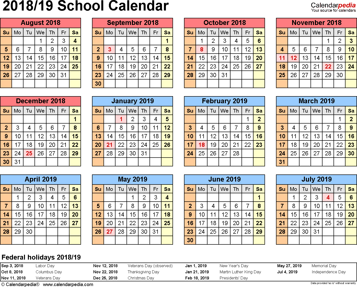 2014 And 2019 School Calendar School Calendar Printable