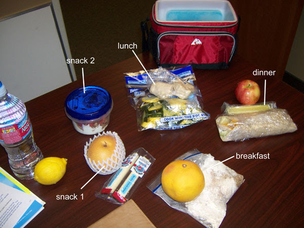 Chelle's clean eating cooler for Wed., March 9, 2011. 1500 calories