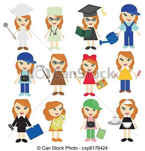 jobs girls  white background vector
