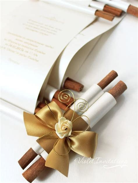 Handmade Gold Ivory Rose Wedding Scroll Invitation SAMPLE