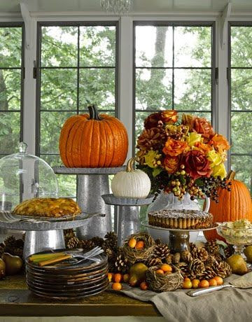Thanksgiving buffet table...