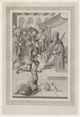 court scene - king, knights and jester