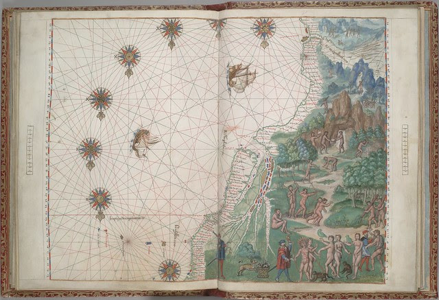 hand-drawn manuscript map: SE South America, Straits of Magellan