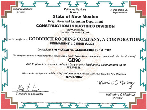 License, Insurance and Warranties | Goodrich Roofing ...