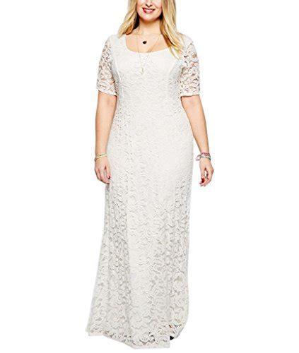 Nemidor Women's Full Lace Plus Size Wedding Maxi Dress