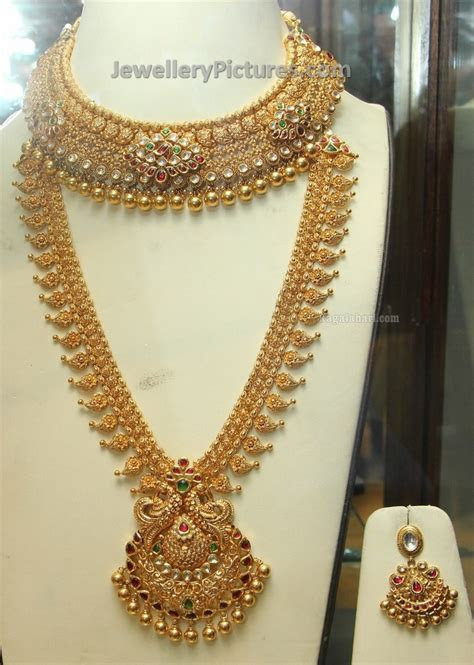 Gold Bridal Long Chain And Necklace Set Jewellery Designs