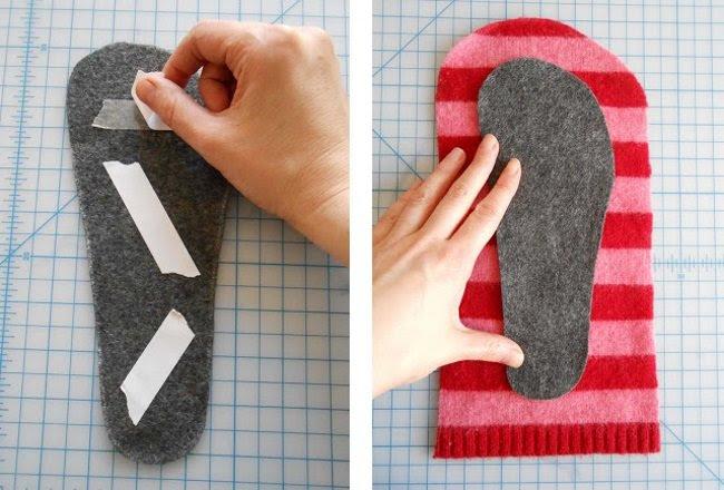 как сделать тапочки из старого свитера