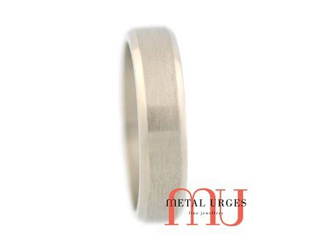 Titanium wedding ring with a central brushed rail and