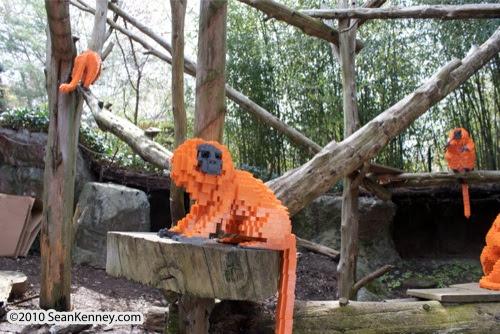 LEGO sculpture Sean Kenney golden lion tamarins monkey monkeys philadephila philly zoo creatures of habitat