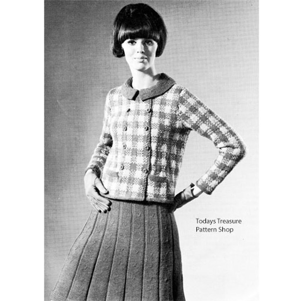 Knitted Two Piece Suit Pattern, Plaid Jacket Pleated Skirt
