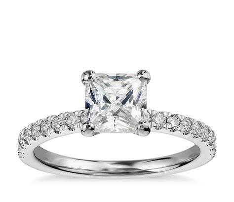 1 Carat Preset Princess Cut Petite Pavé Diamond Engagement