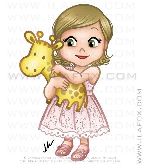 caricatura, desenho bebê abraçado com girafa, menina Marina by ila fox