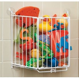 trap door bath toy bin, white, made of coated wire, full of toys