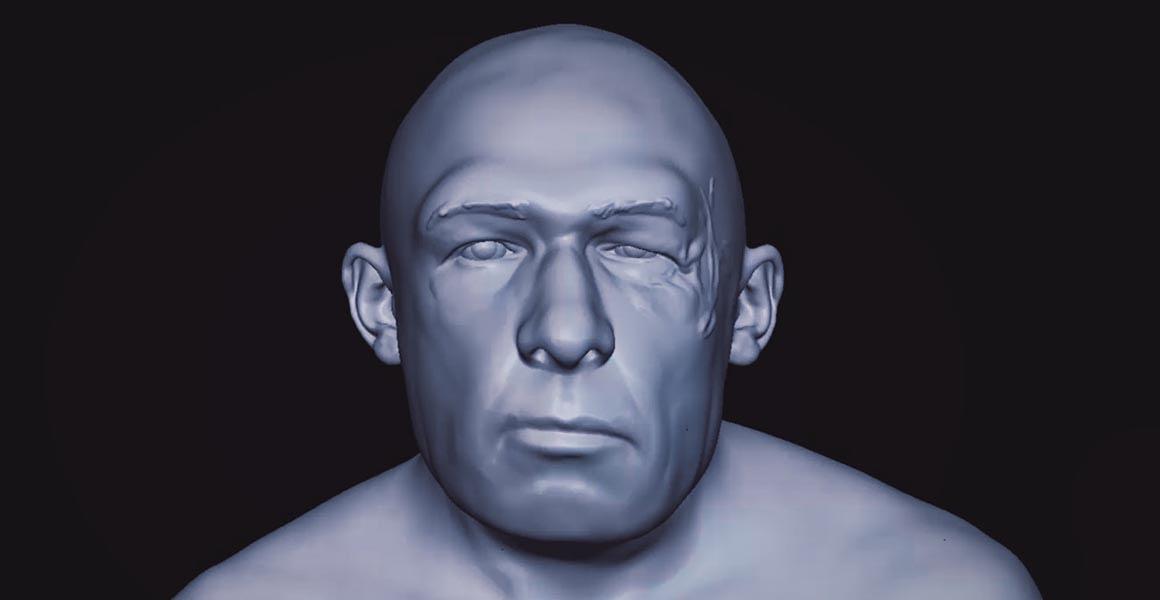 Una imagen generada por ordenador que se convertirá en un modelo realista de un hombre neandertal. Foto: Jellyfish Pictures.