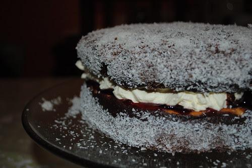 Jam and Cream filled Lamington cake