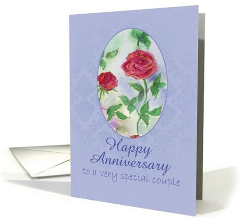 Happy Anniversary Special Couple Red Roses Watercolor Art card